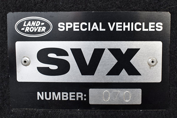 Land Rover Defender 90 SVX Plaque